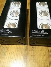 2x 3 Pack Integrated Led Directional White Down Lights 375593 Warm Light