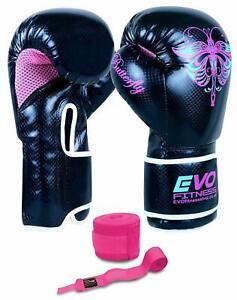 EVO Ladies Kick Boxing Gloves MMA Muay Thai Women Training Sparring UFC Girls