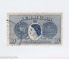 1953 Bermuda #161 Θ used F/VF, cds, QEII ,colonial coinage. 10 shilling,