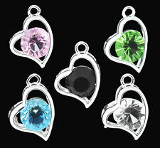 5 SILVER PLATED MIXED RHINESTONE HEART CHARMS/PENDANTS~Bracelets~Necklaces (5G)