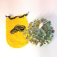 Vintage Cats Eye Marbles Clear Glass in Mesh Bag with Carrying Case - Brand New