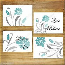 Teal Gray Aqua Floral Wall Art Prints Flower Decor Motivational Words Quote LOVE