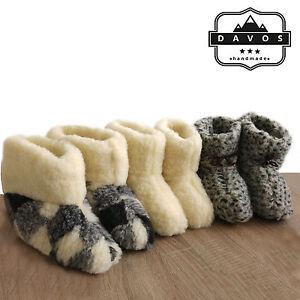 Women's Men's Cozy Sheep Wool Boots Slippers Genuine Sheepskin Leather Sole
