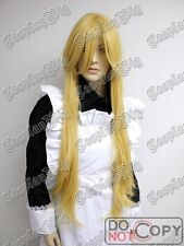 PANTY AND STOCKING 90cm LONG YELLOW BLONDE wavy straight cosplay WIG FREE SHIP
