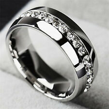 Men/Women CZ Couple Stainless Steel Wedding Rings Titanium Engagement Band 5-13