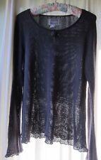YUMI Blue Gray Bell Slv Open Knit Linen Blnd Boho Swing Top Free People Style M