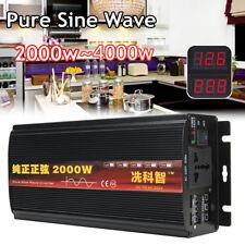 2000W 2KW Walt Pure Sine Wave Power Inverter DC 12V to AC 220V Converter +