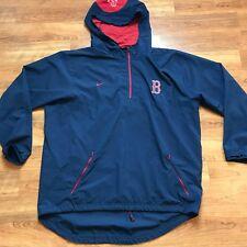 Nike BOSTON REDSOX Pullover Half Zip Hooded Windbreaker Jacket Mens XL