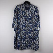 31b986e33 100% Silk Tommy Bahama Hawaiian Shirt - Sahara Fronds -Bering Blue - Floral  -