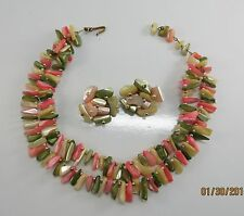 Vintage Estate Lucite Thermoset Double Strand 16 Inch  Necklace &  Earring Set