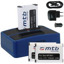 3x Baterìa + Cargador doble (USB) NP-BX1 para Sony Action Cam HDR-AS100V, AS200V