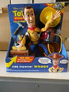 Toy Story and Beyond Fire Fighting Woody Plush Doll Disney Pixar Mattel