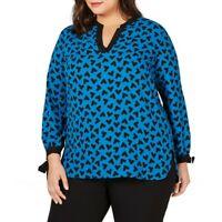 ANNE KLEIN NEW Women's Plus Size Printed Split-neck Blouse Shirt Top TEDO