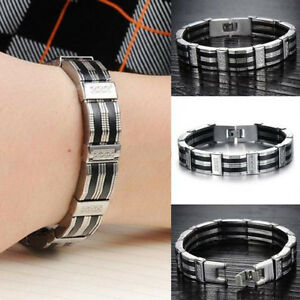 2020 NEW Stainless Steel Chain Black Silicone Link Bracelet Wristband for Men