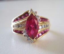 14k J-K SI1-SI2 Diamond Gold Ring Lab Created Ruby Bypass THL Samuel Aaron 7