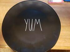 """Rae Dunn Dinner Plates Black LL """"YUM"""""""