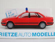 """Rietze 50420 Audi 100 Limousine (1990) """"FEUERWEHR/KdoW"""" in rot 1:87/H0 NEU/OVP"""