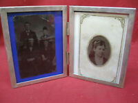 ANTIQUE SILVER PLATE PICTURE FRAME WITH TINTYPE PICTURES