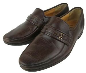 BALLY Vintage Brown Leather Slip On Loafers Size UK 7D Made In Switzerland