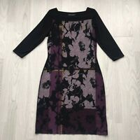 M&S Collection Abstract Floral Print Stretch Shift Dress 3/4 sleeve Black 10 A7