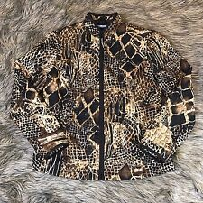 Requirements Women's Sz S Brown Animal Print Quilted Zip Up Casual Career Jacket