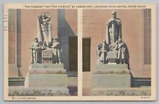 New listing Baton Rouge Louisiana~The Pioneers & The Patriots Statuary~Vintage Postcard