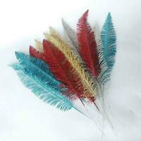 Large Glittered Spiky Feather Leaf - Glittery Flowers Fake New Home Decor T9L2