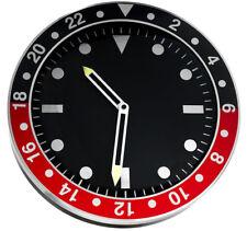Modern wall clock, metal case, black dial, silent sweep, 35 cm