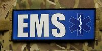 "3x8"" EMS Blue Medic Morale Hook Plate Carrier  Patch EMT Ambulance Paramedic"