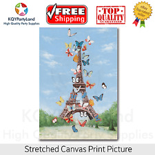 Stretched Canvas Print Eiffel Tower Butterfly Painting Wall Art Home Decor Gift
