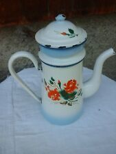 ANCIENNE CAFETIERE EMAILLEE,DECOR FLEUR,ROSE ,XXeme,COFFEE POT