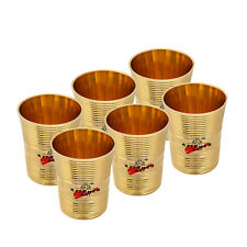 6 Pc Indian Handmade Traditional Brass Tumbler Water Drinking Glass Home Hotel