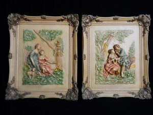 "VICTORIAN STYLE Vtg SET OF CHALKWARE WALL PLAQUES Rare & Beautiful 17"" x 14.25"""