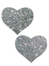 Silver Heart Pastease Nipple Petals Pasties Breast Bra Stickers Exotic Dancer