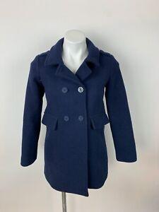 Gap Kids Navy Blue Pea Dress Coat XL 12 Wool Blend Excellent