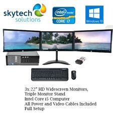 Dell Triple Monitor Screen PC SET Quad i7 Cpu 512GB SSD HDD 16GB Windows 10 Wifi