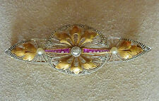 Vintage Platinum, 18k. Gold, Ruby, Pearl & Diamond  Pin- Approx. .35cts.