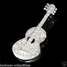 w Swarovski Crystal Music Rock ~ACOUSTIC GUITAR~ Folk Musical Musican Pin Brooch