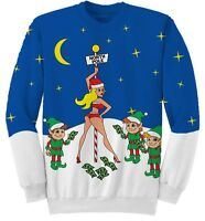 Adult Blue Tacky Ugly Christmas Sweater North Pole Santa Stripper Elf Money