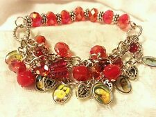 """Handmade 8"""" Red Silver Plated Statement Saints Glass Beads Stretchy Bracelet"""