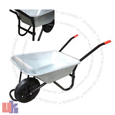100l-180kg Wheelbarrow Garden Wheel Barrow Large Galvanised Pneumatic Tyre UKED