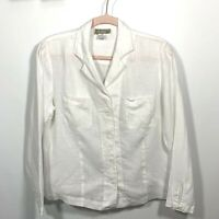 The Territory Ahead Women Shirt 100% Linen L/Sleeve Button Up Down White Size S