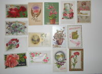 LOT OF 14 GREETINGS ANTIQUE  POSTCARDS BEST WISHES FLOWERS ROSES  PANSY ETC