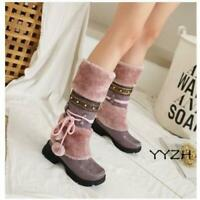 Women's Lady Furry Mid Calf Boots Low Chunky Heel Winter Snow Warm Fashion Boots