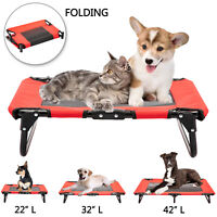 Elevated Pet Cot Dog Bed Folding Raised Sleeper Lounger Hammock Summer Pet Bed