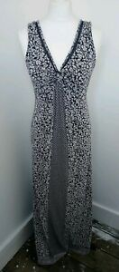 STUNNING *FAT FACE* BLUE ETHNIC FLORAL PRINT KNOT FRONT MAXI DRESS Sz 8