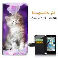 Apple iPhone 5 5G 5S SE Wallet Flip Phone Case Cover Cat Purple Y00576