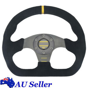 325mm Racing Flat Sport Drift Steering Wheel Suede Leather  Black Boss Hub 13''