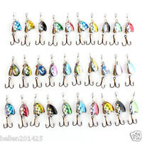 Lot 30pcs Assorted Metal Fishing Lures Spinner Baits Crankbait Fish Hooks Tackle