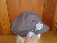 MONSOON ACCESSORIZE CHOCOLATE BROWN FLOWER BAND BOW PEAKED HAT CAP BAKER BOY